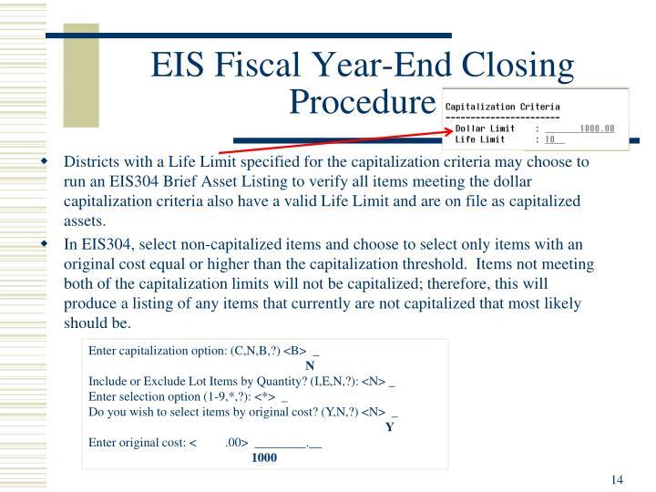 EIS Fiscal Year-End Closing Procedure
