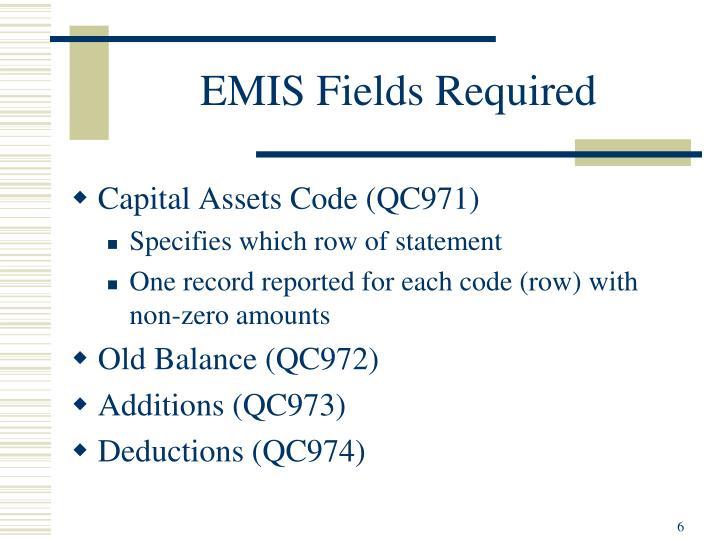 EMIS Fields Required