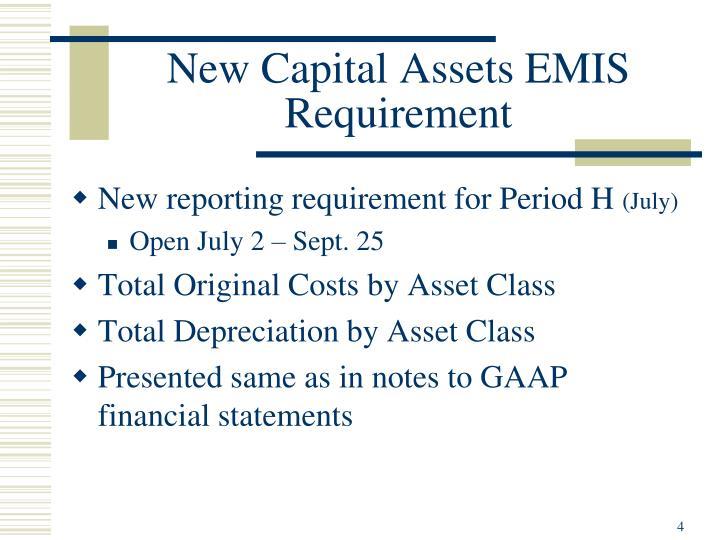 New Capital Assets EMIS Requirement