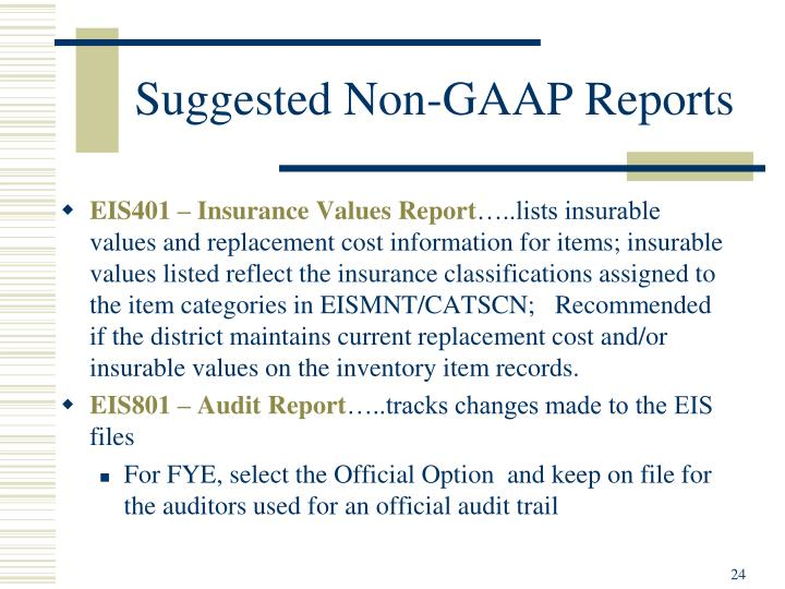 Suggested Non-GAAP Reports