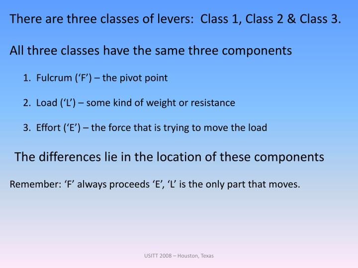 There are three classes of levers:  Class 1, Class 2 & Class 3.