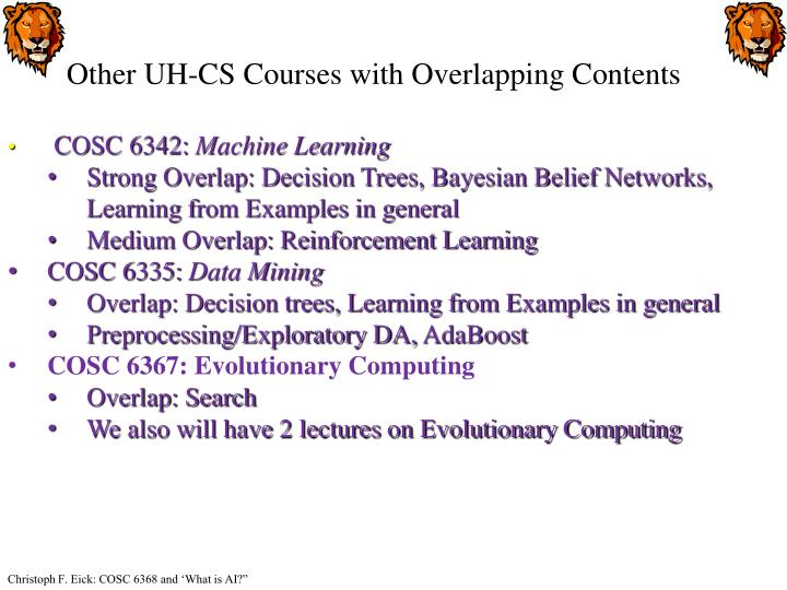 Other UH-CS Courses with Overlapping Contents