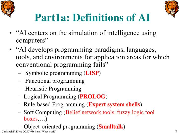 Part1a definitions of ai