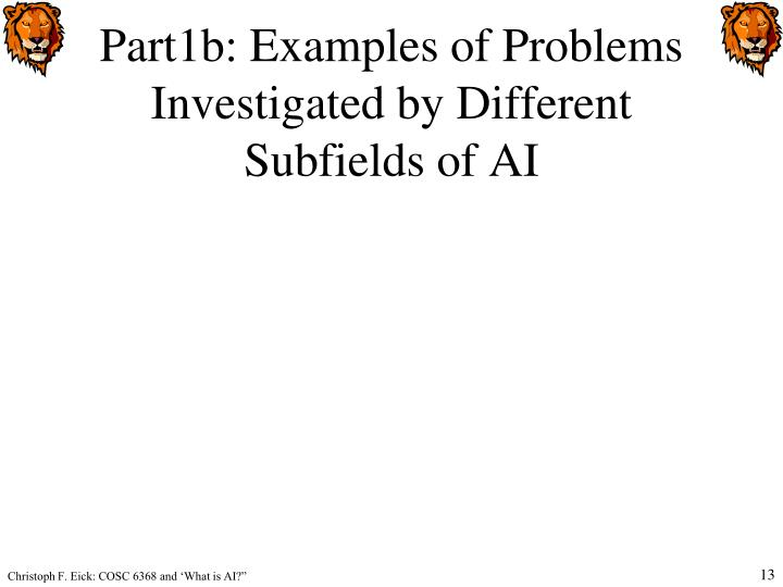 Part1b: Examples of Problems