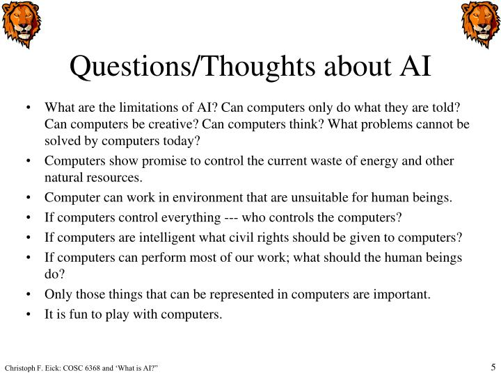 Questions/Thoughts about AI