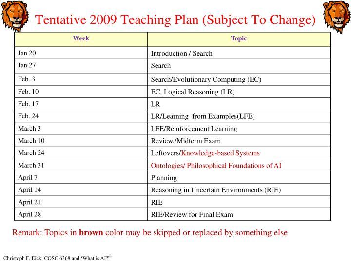 Tentative 2009 Teaching Plan (Subject To Change)