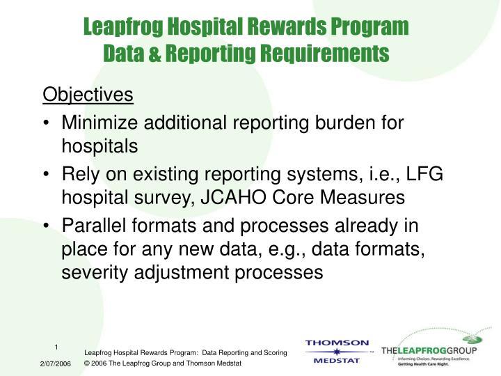 Leapfrog hospital rewards program data reporting requirements