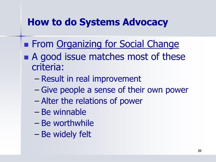 How to do Systems Advocacy