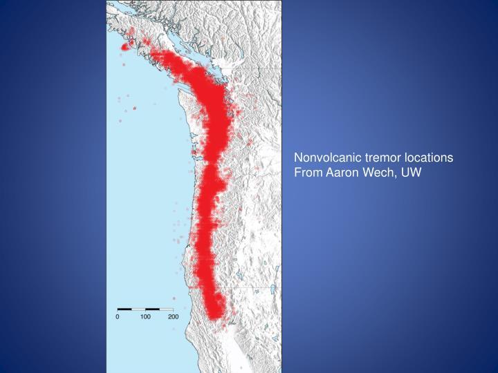 Nonvolcanic tremor locations