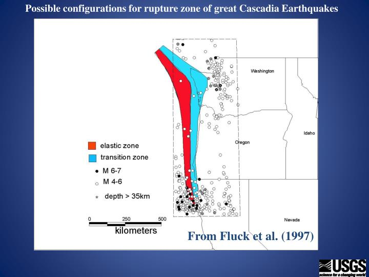 Possible configurations for rupture zone of great Cascadia Earthquakes