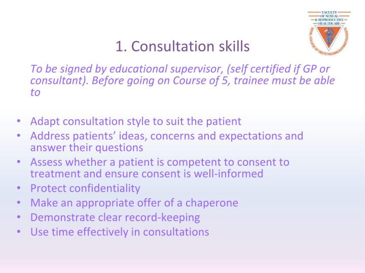 1. Consultation skills