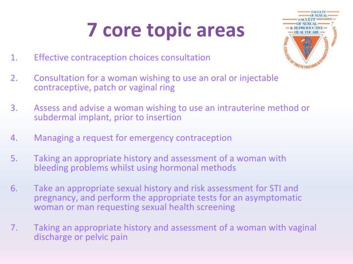 7 core topic areas