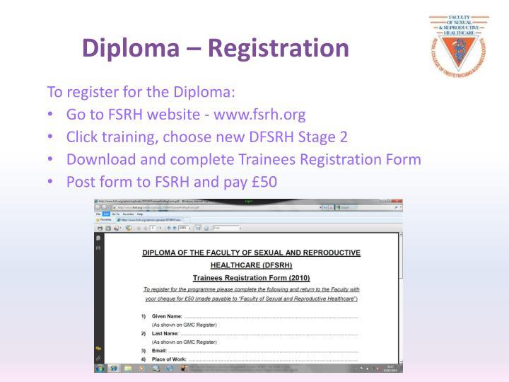 Diploma – Registration