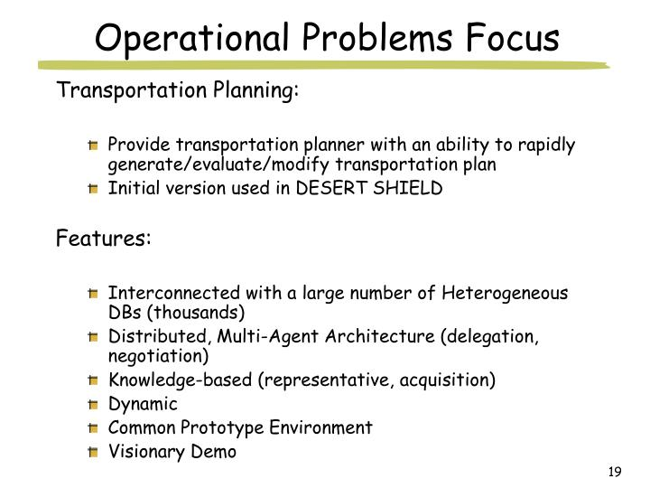 Operational Problems Focus