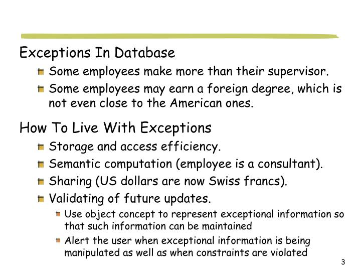 Exceptions In Database