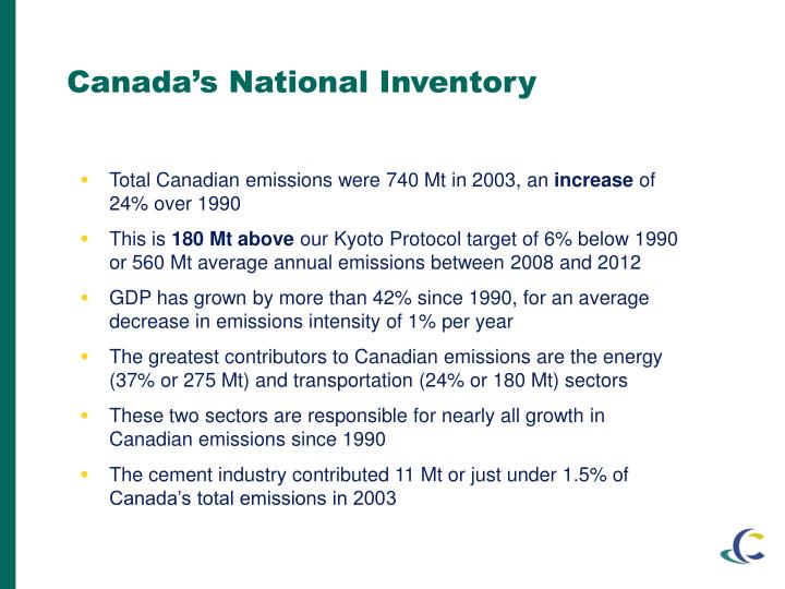 Total Canadian emissions were 740 Mt in 2003, an