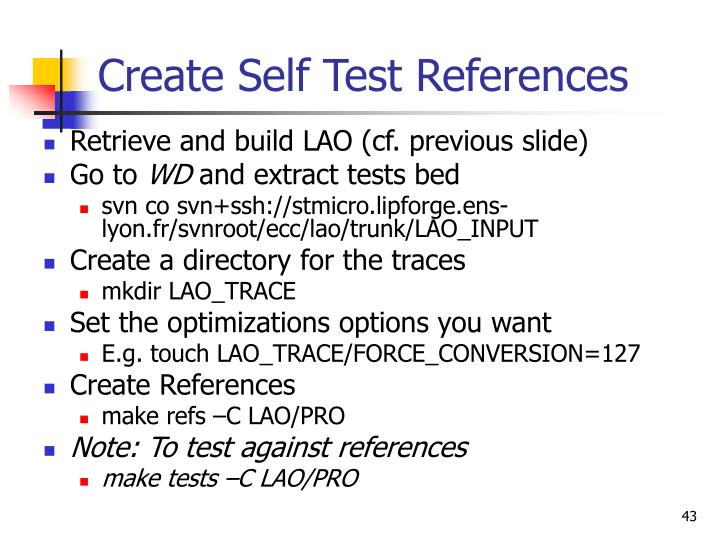 Create Self Test References