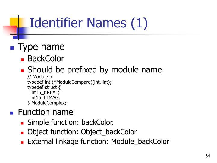 Identifier Names (1)