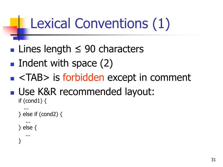 Lexical Conventions (1)