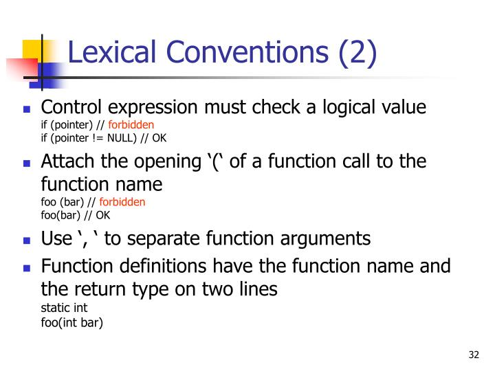 Lexical Conventions (2)