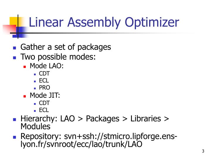 Linear assembly optimizer