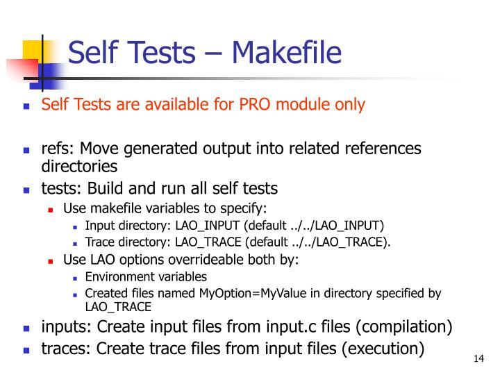 Self Tests – Makefile
