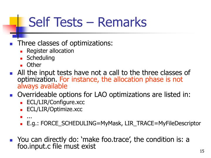 Self Tests – Remarks