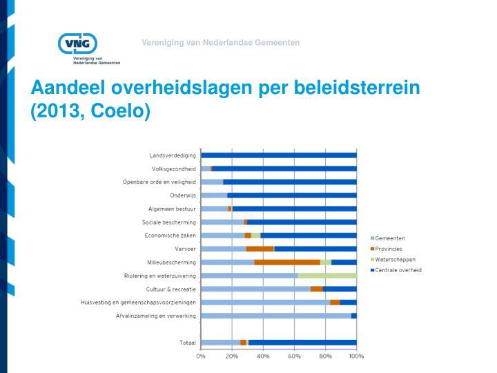 Aandeel overheidslagen per beleidsterrein 2013 coelo