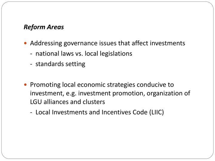 Reform Areas