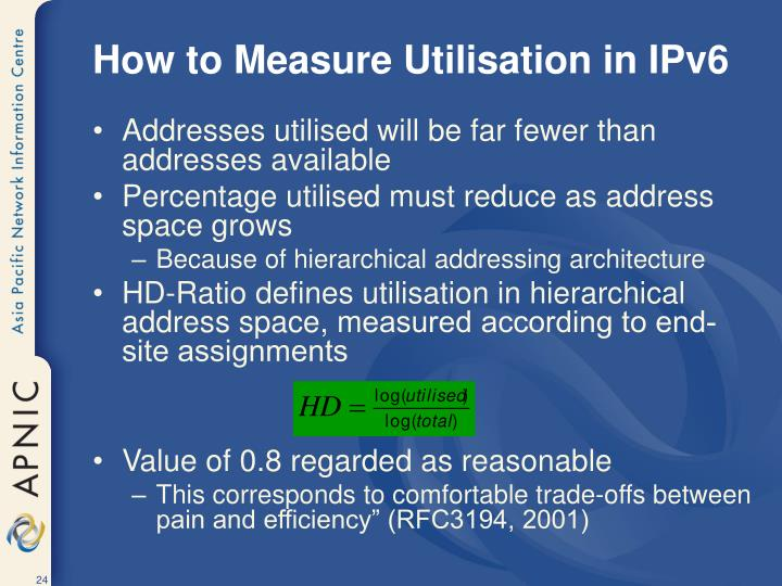 How to Measure Utilisation in IPv6
