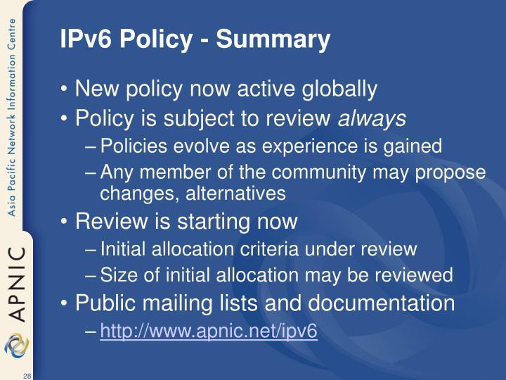 IPv6 Policy - Summary