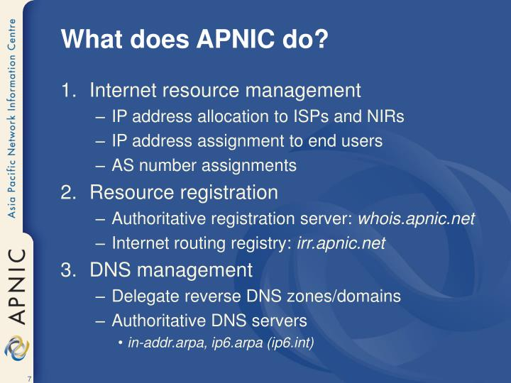What does APNIC do?