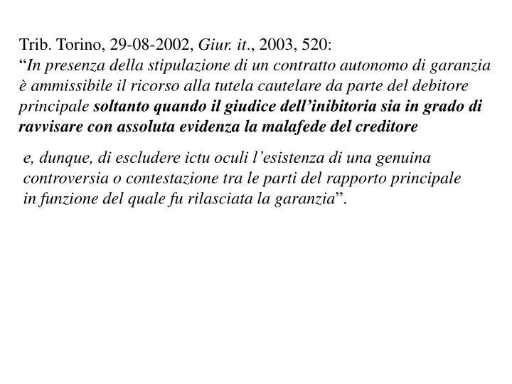 Trib. Torino, 29-08-2002,