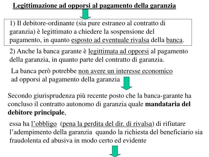 Legittimazione ad opporsi al pagamento della garanzia