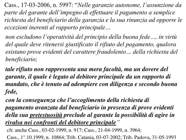 """Cass., 17-03-2006, n. 5997: """""""