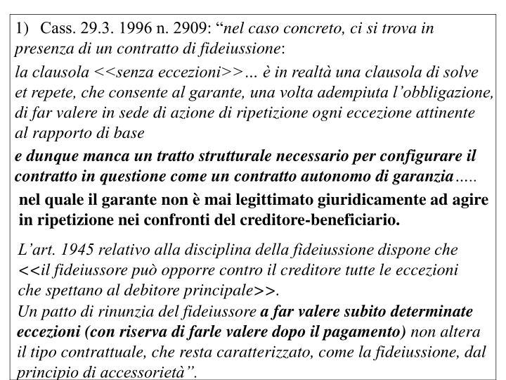 """Cass. 29.3. 1996 n. 2909: """""""