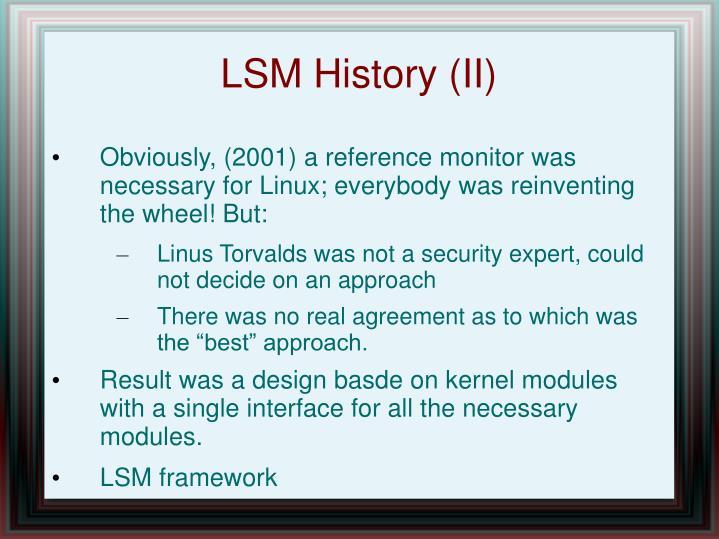 LSM History (II)