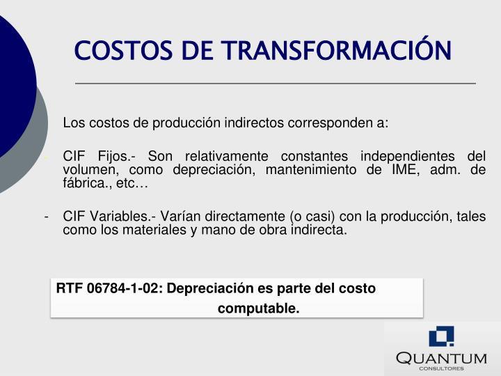 COSTOS DE TRANSFORMACIÓN