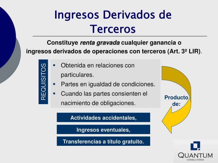 Ingresos derivados de terceros