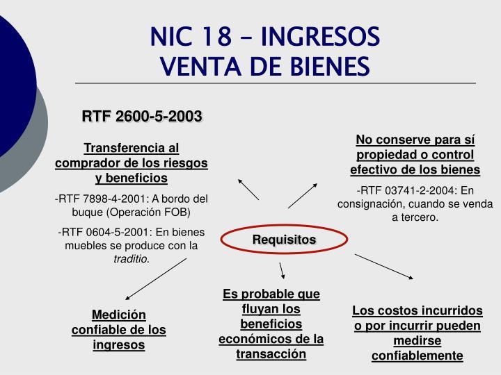 NIC 18 – INGRESOS