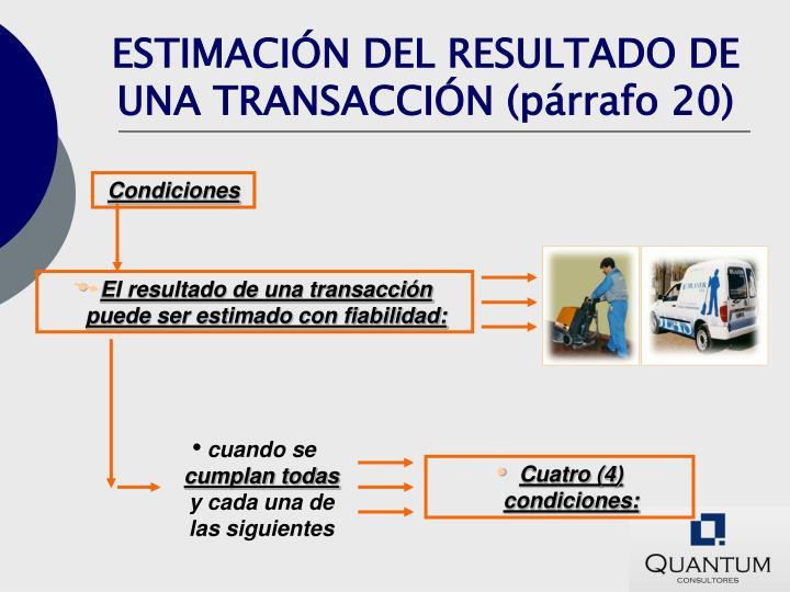 ESTIMACIÓN DEL RESULTADO DE UNA TRANSACCIÓN (párrafo 20)