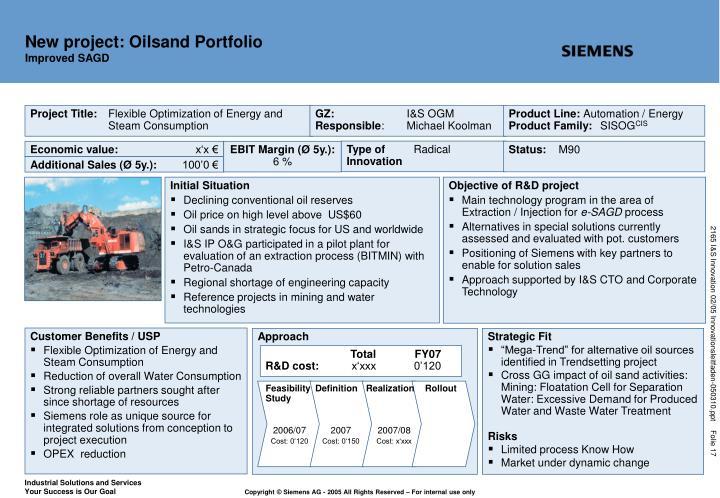 New project: Oilsand Portfolio