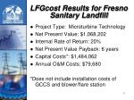 lfgcost results for fresno sanitary landfill
