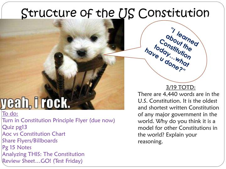 Structure of the US Constitution