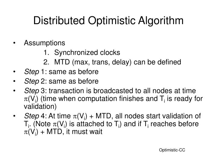 distributed optimistic algorithm n.