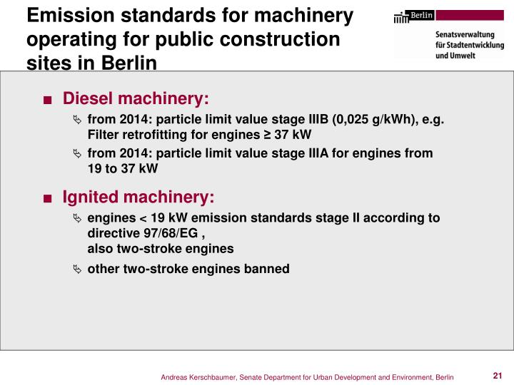 Emission standards for machinery operating for public construction sites in Berlin