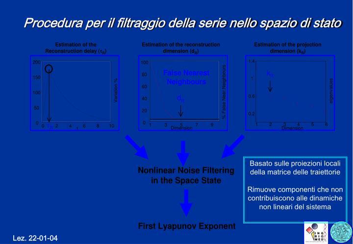 Procedura per il filtraggio della serie nello spazio di stato