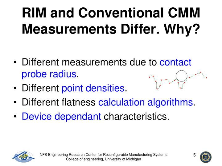 RIM and Conventional CMM Measurements Differ. Why?