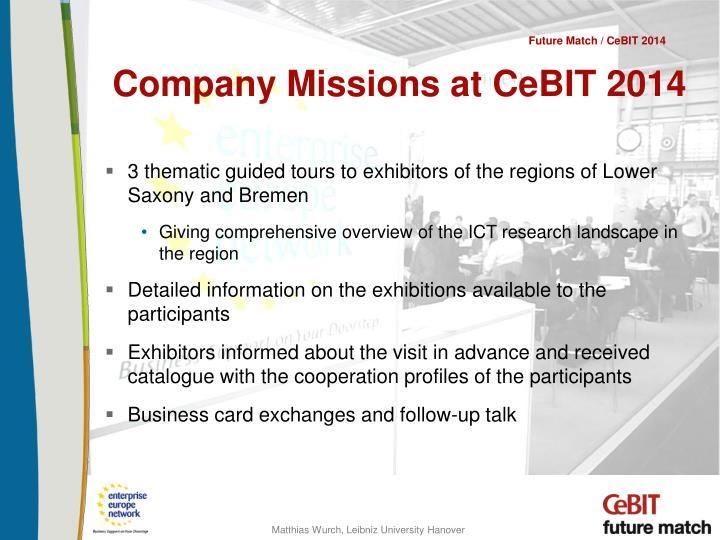 Company Missions at CeBIT 2014