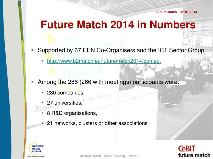 Future Match 2014 in Numbers